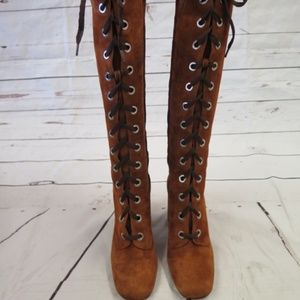 Prada Shoes   New Laceup Knee Boots Brown Suede Size 36   Poshmark ce50002bb4b